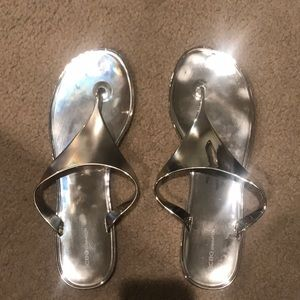 Mirrored silver jelly shoes- size 10
